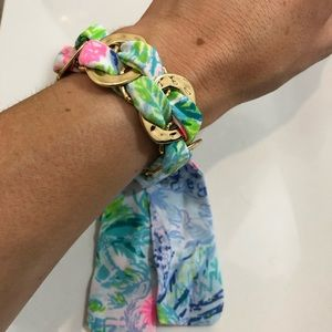 NWOT Lilly Pulitzer Fabric Wrapped Gold Bracelet
